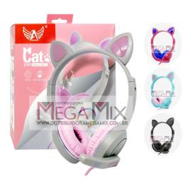 Fone de Ouvido Headset Gamer Orelha de Gato (P2+USB) A-085 - Altomex