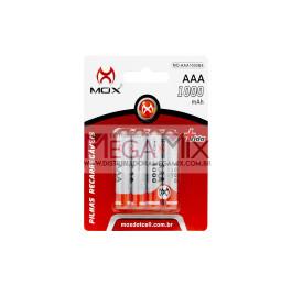 Pilha AAA Recarregável c/4 1000mAh MO-AAA1000B4 - Mox