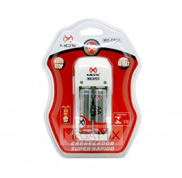 Carregador de Pilhas com 2 Pilhas Recarregáveis AA MO-CP31 - Mox