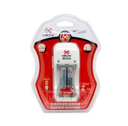 Carregador de Pilhas com 2 Pilhas Recarregáveis AAA MO-CP32 - Mox