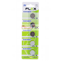 Bateria Lithium 3V - Cartela 5 Unidades FX-CR1620-3V - Flex