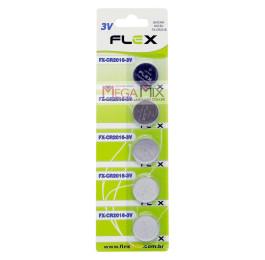 Bateria Lithium 3V - Cartela 5 Unidades FX-CR2016-3V - Flex