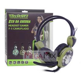 Fone De Ouvido Headset Gamer Camuflado F-5 - Tec Drive