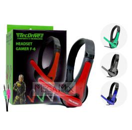 Fone de Ouvido Headset Gamer para PC (2 P2) F-6 - TecDrive