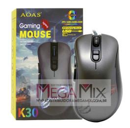 Mouse Gamer com fio USB 3200 Dpi K30- Aoas