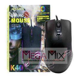 Mouse Gamer com fio USB 3200 Dpi K40- Aoas