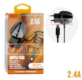 Carregador de Celular - Micro USB (V8) com 2 USB 2.4A  KD-81S - Kaidi