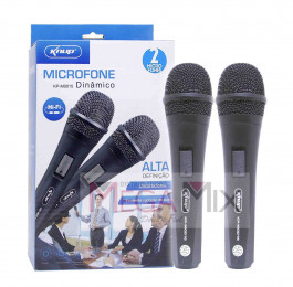 Microfone Profissional Duplo Com Fio KP-M0015 - Knup
