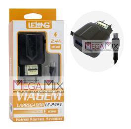 Carregador de Celular - Micro USB (V8) com 2 USB 2.4A LE-242V - Lelong