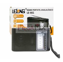 Rádio Portátil Recarregável Bluetooth/AM/FM/SW LE-661 - Lelong