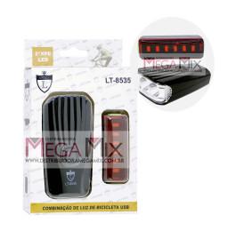 Kit Combinação de Luz para Bicicleta USB LT-8535 - Lintian