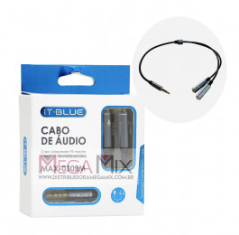 Cabo Adaptador P3 Macho+2 P2 Fêmea (Fone+Mic) MAX-0302M - It-Blue