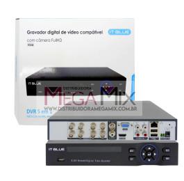 DVR 5 em 1 - 8 Canais AHD-CVI-TVI-IPC-Analógica SC9298 - It-Blue