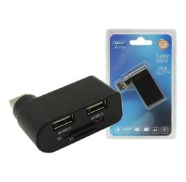 Hub USB 2 Portas com leitor de cartão 2.0 KP-T123 - Knup