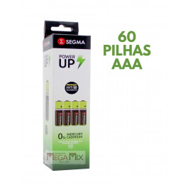 Pilha Power UP AAA Tubo c/60 unid. SEG5 - Segma