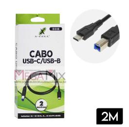 Cabo USB-C + USB-B Impressora 2M XC-CI-06 - X-Cell