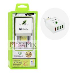 Carregador de Parede 4 USB 6.1A Ultra Rápido XC-UR-20 - X-Cell