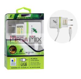 Carregador de Celular - Micro USB (V8) 5V 2.8A XC-V8-GLX - X-cell